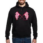 Pink Crossed Checkered Flags Hoodie (dark)