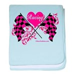 Pink Racing Flags baby blanket