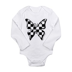 Checkered Butterfly Long Sleeve Infant Bodysuit