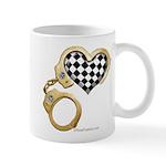 checkered heart and handcuffs Mug