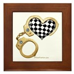 checkered heart and handcuffs Framed Tile