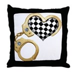 checkered heart and handcuffs Throw Pillow