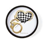 checkered heart and handcuffs Wall Clock