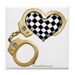 checkered heart and handcuffs Tile Coaster