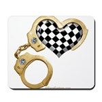 checkered heart and handcuffs Mousepad