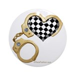 checkered heart and handcuffs Ornament (Round)