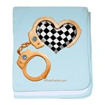 checkered heart and handcuffs baby blanket