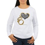 checkered heart and handcuffs Women's Long Sleeve