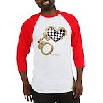 checkered heart and handcuffs Baseball Jersey