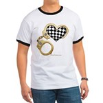 checkered heart and handcuffs Ringer T
