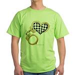 checkered heart and handcuffs Green T-Shirt