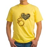 checkered heart and handcuffs Yellow T-Shirt