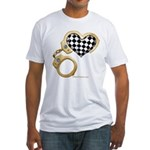 checkered heart and handcuffs Fitted T-Shirt