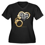 checkered heart and handcuffs Women's Plus Size V-