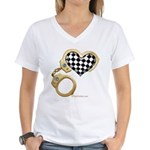checkered heart and handcuffs Women's V-Neck T-Shi