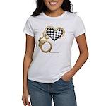 checkered heart and handcuffs Women's T-Shirt