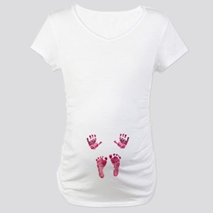 pink baby hands and feet Maternity T-Shirt
