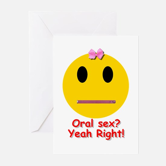 Oral Sex Smiley Greeting Cards (Pk of 10)