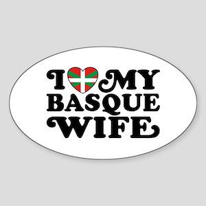 I Love My Basque Wife Sticker (Oval)