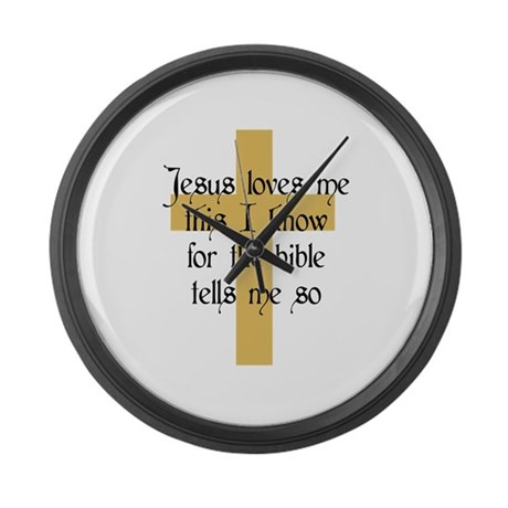 Jesus Love me This I Know Large Wall Clock