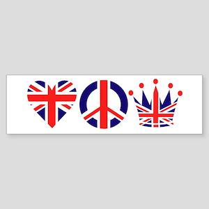 Heart, Peace, Crown - Britiain! Sticker (Bumper)