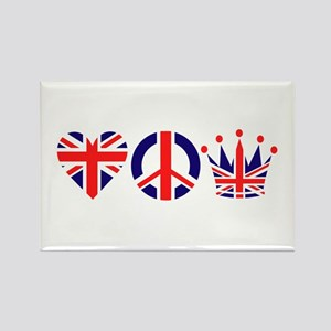 Heart, Peace, Crown - Britiain! Rectangle Magnet