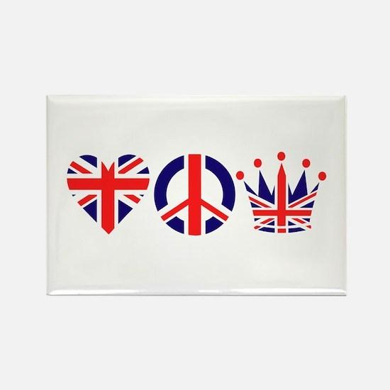 Heart, Peace, Crown - Britiain! Rectangle Magnet