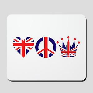 Heart, Peace, Crown - Britiain! Mousepad