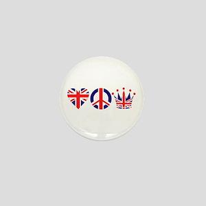 Heart, Peace, Crown - Britiain! Mini Button