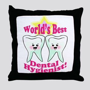 Worlds Best Dental Hygienist Throw Pillow