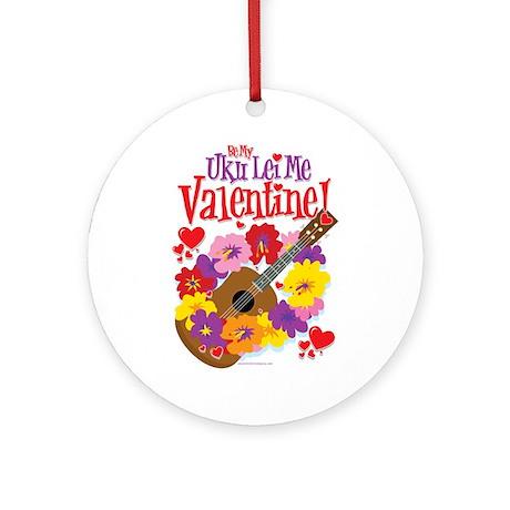 Ukulele Valentine Ornament (Round)