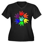 Love of Many Colors Women's Plus Size V-Neck Dark