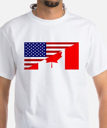 Canadian American Flag White T-Shirt