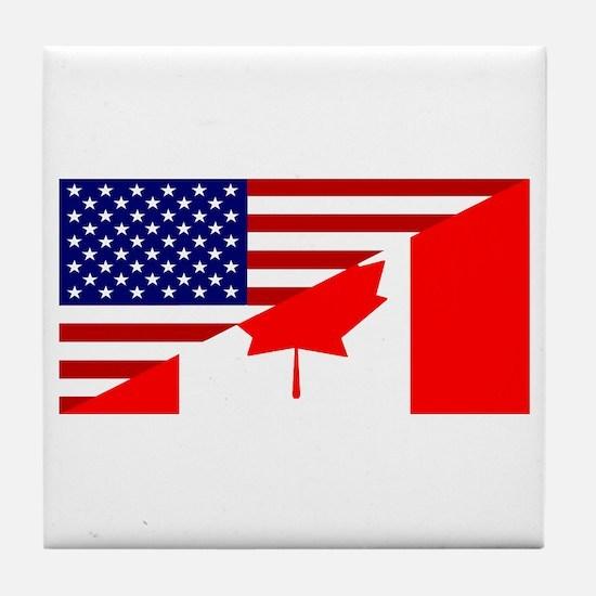 Canadian American Flag Tile Coaster