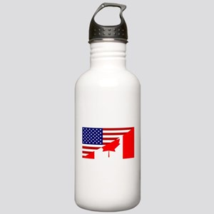 Canadian American Flag Stainless Water Bottle 1.0L