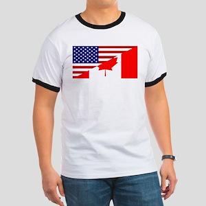 Canadian American Flag Ringer T