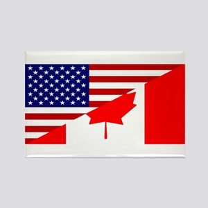 Canadian American Flag Rectangle Magnet
