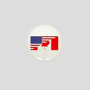 Canadian American Flag Mini Button
