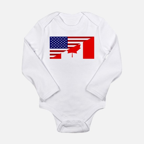 Canadian American Flag Long Sleeve Infant Bodysuit