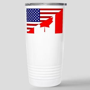 Canadian American Flag Stainless Steel Travel Mug