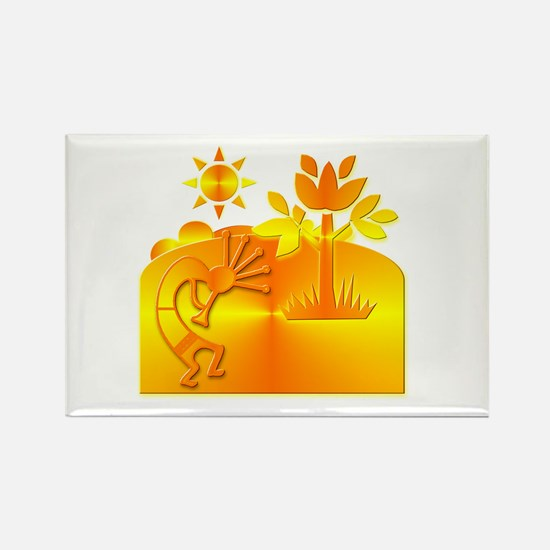 Orange & Gold Kokopelli Rectangle Magnet