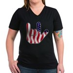 I Love America Women's V-Neck Dark T-Shirt
