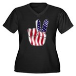 Peace America Women's Plus Size V-Neck Dark T-Shir