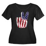 Peace America Women's Plus Size Scoop Neck Dark T-
