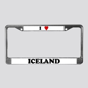 I Love Iceland License Plate Frame