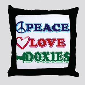 Peace Love Doxies - Dachshunds Throw Pillow