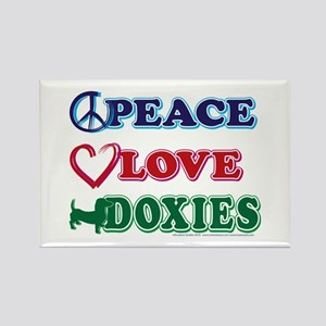 Peace Love Doxies - Dachshunds Rectangle Magnet