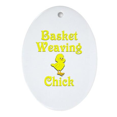 Basket Weaving Chick Ornament (Oval)