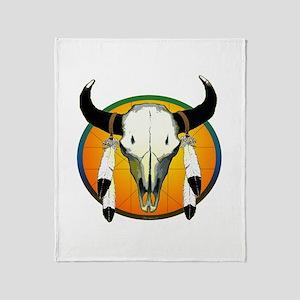 Buffalo skull Throw Blanket
