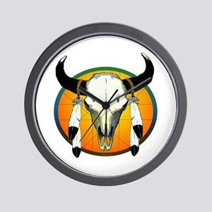 Buffalo skull Wall Clock